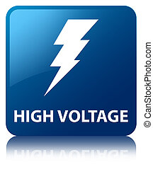 High voltage (electricity icon) blue square button