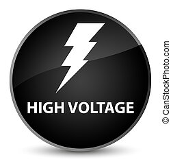High voltage (electricity icon) elegant black round button