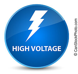 High voltage (electricity icon) elegant blue round button