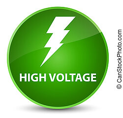 High voltage (electricity icon) elegant green round button