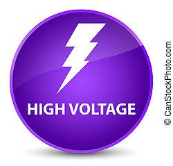 High voltage (electricity icon) elegant purple round button