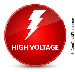 High voltage (electricity icon) elegant red round button