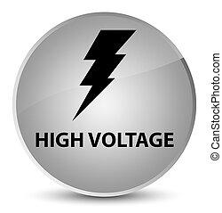 High voltage (electricity icon) elegant white round button