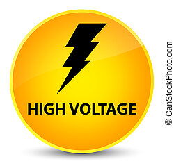 High voltage (electricity icon) elegant yellow round button