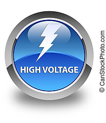 High voltage (electricity icon) glossy blue round button