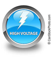 High voltage (electricity icon) glossy cyan blue round button