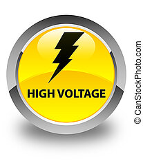 High voltage (electricity icon) glossy yellow round button