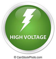 High voltage (electricity icon) premium soft green round button