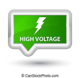 High voltage (electricity icon) prime green banner button