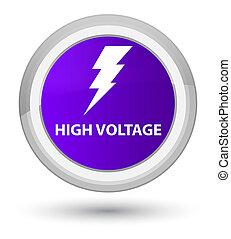 High voltage (electricity icon) prime purple round button
