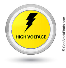 High voltage (electricity icon) prime yellow round button