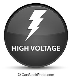 High voltage (electricity icon) special black round button