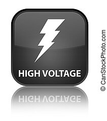 High voltage (electricity icon) special black square button