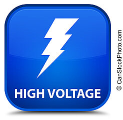 High voltage (electricity icon) special blue square button