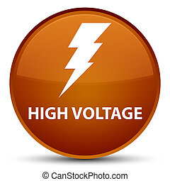 High voltage (electricity icon) special brown round button