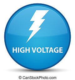 High voltage (electricity icon) special cyan blue round button