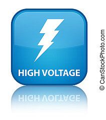 High voltage (electricity icon) special cyan blue square button