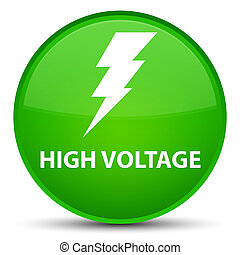High voltage (electricity icon) special green round button