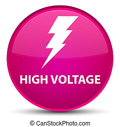 High voltage (electricity icon) special pink round button