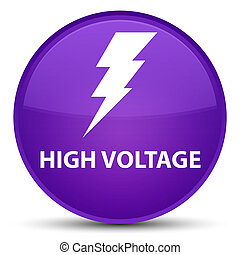 High voltage (electricity icon) special purple round button