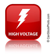 High voltage (electricity icon) special red square button