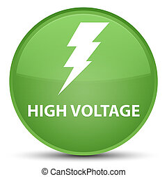 High voltage (electricity icon) special soft green round button