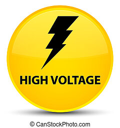 High voltage (electricity icon) special yellow round button