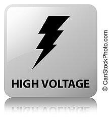 High voltage (electricity icon) white square button