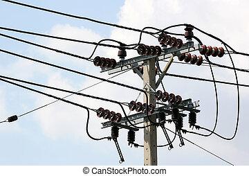 high voltage equipment - closeup of high voltage equipment...