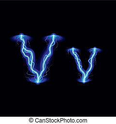 High voltage font - Uppercase and lowercase letters V in...