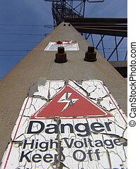 High Voltage - High voltage warning notice on a high voltage...