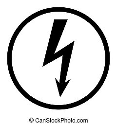 High voltage icon, danger vector symbol isolated on white background, web button