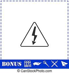 High voltage icon flat