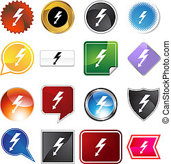 High Voltage Icon Set - High voltage icon set isolated on a...