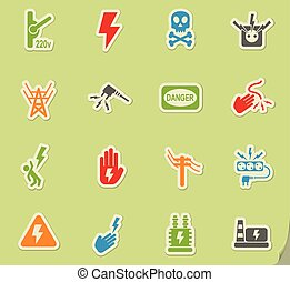 high voltage icon set