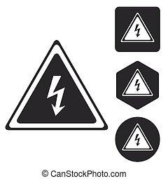 High voltage icon set, monochrome