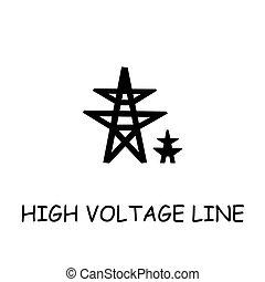 High voltage line flat vector icon