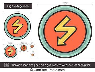 High voltage line icon.