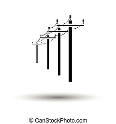 High voltage line icon. White background with shadow design....