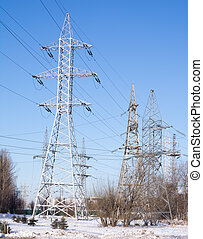 high-voltage line on a background of blue sky,