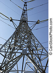 high-voltage line on the sky background - high-voltage line