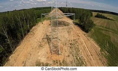 High-voltage lines. Installing power lines. 105 -...