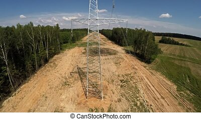 High-voltage lines. Installing power lines. 107 -...