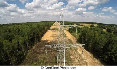 High-voltage lines. Installing power lines. 116 -...