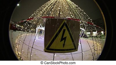 high voltage plate gently Festive Christmas illuminations at...