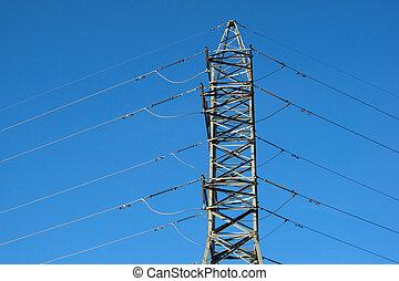 high voltage post. High-voltage tower sky background.