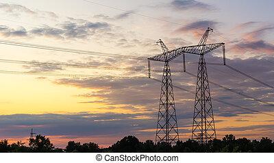 high voltage post High voltage tower sky background