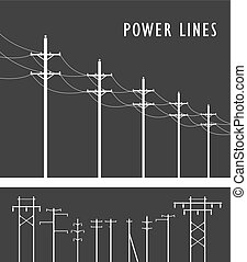 High Voltage Post - Vector image set of high-voltage poles ...