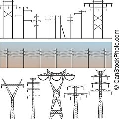 High Voltage Post - Vector image set of high-voltage poles...