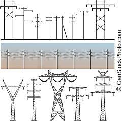High Voltage Post - Vector image set of high-voltage poles...